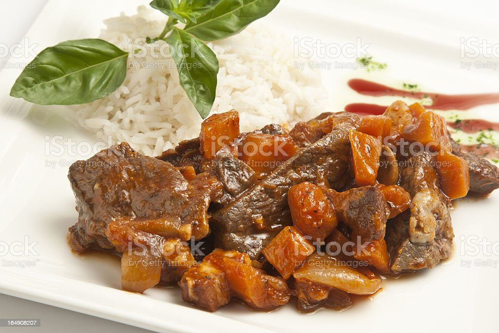 Meat stew with carrots royalty-free stock photo