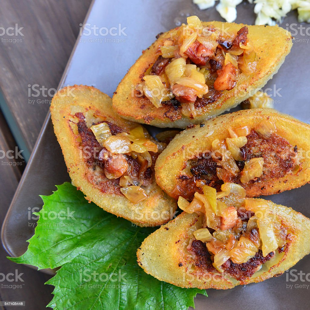 meat stuffed potato dumplings stock photo