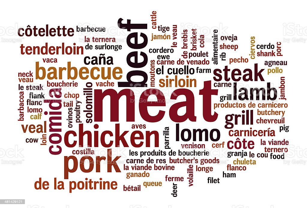 Meat variations word cloud vector art illustration