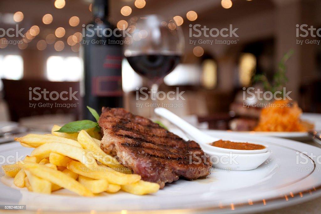 Meat, wine, restaurant stock photo