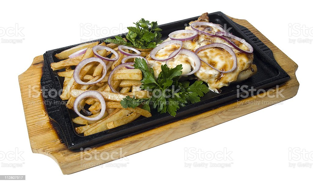 Meat with a mushrooms royalty-free stock photo