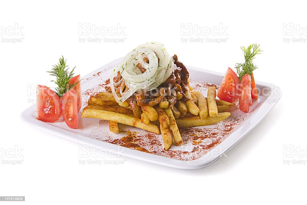 Meat with fries royalty-free stock photo