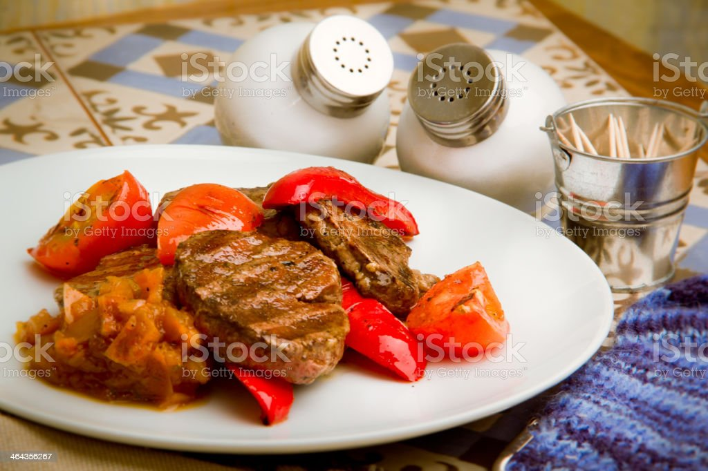 meat with grilled vegetables royalty-free stock photo