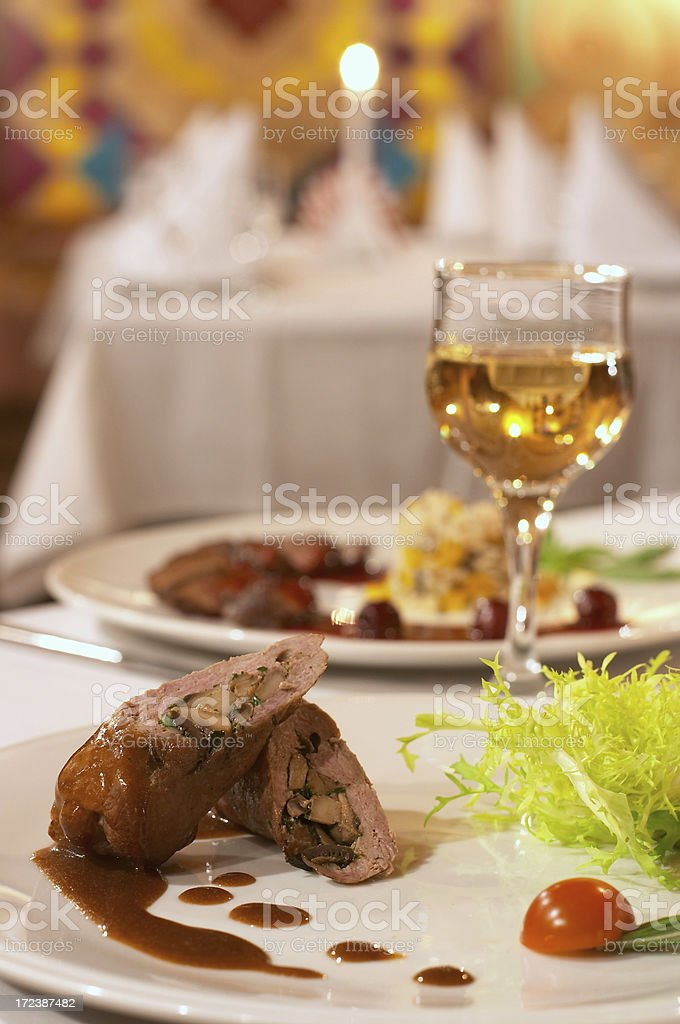 Meat with mushrooms stock photo