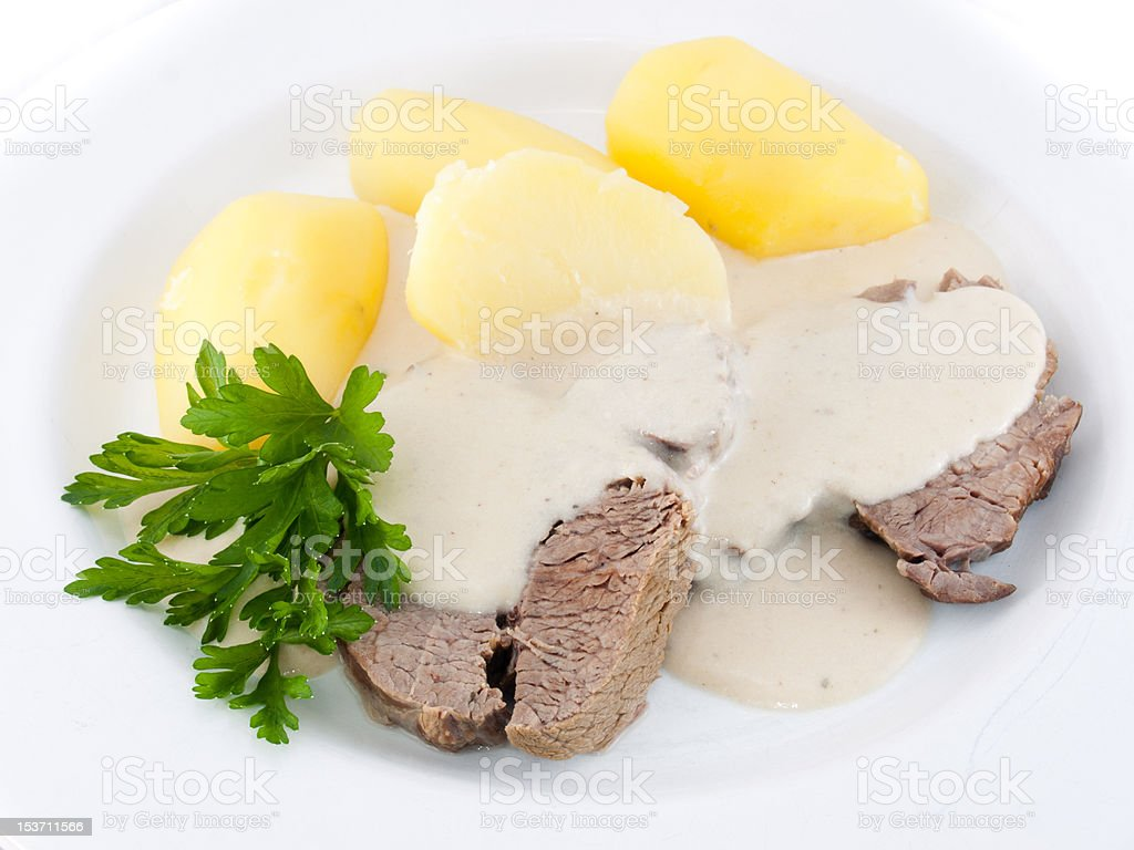 meat with sauce and potatoes royalty-free stock photo