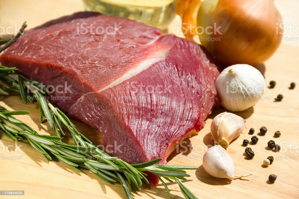 meat with vegetables and spices royalty-free stock photo