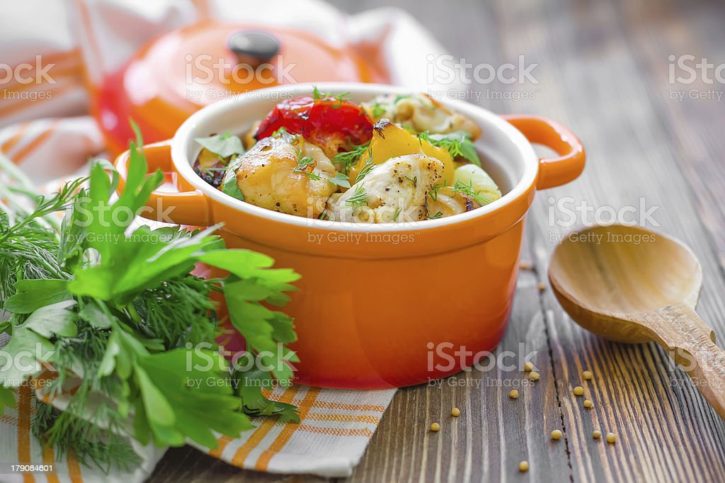 Meat with vegetables stock photo
