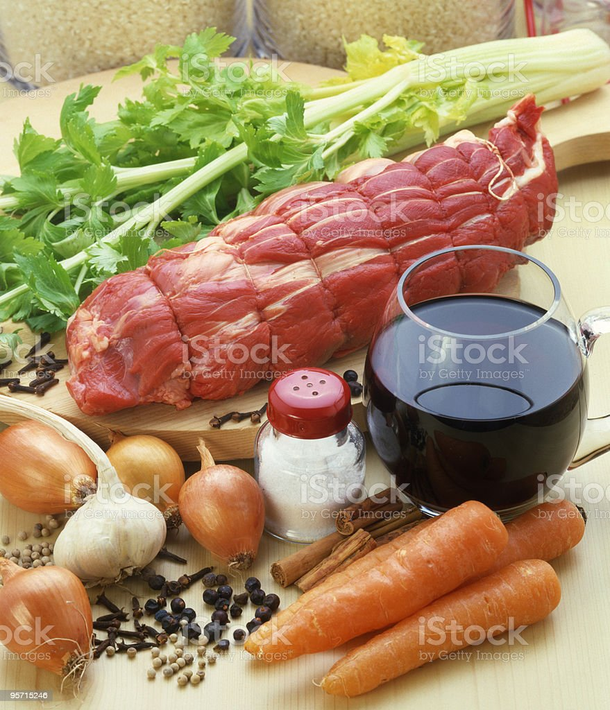 Meat with vegetables, spices and wine. royalty-free stock photo