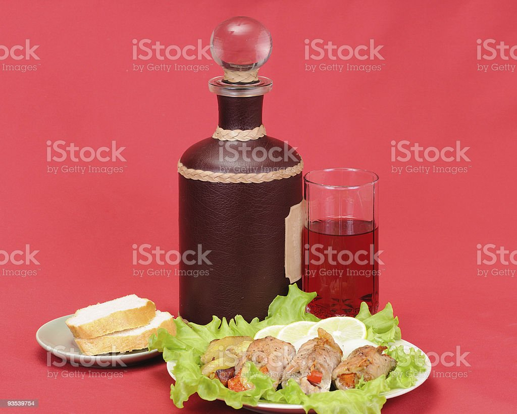 Meat with wine royalty-free stock photo