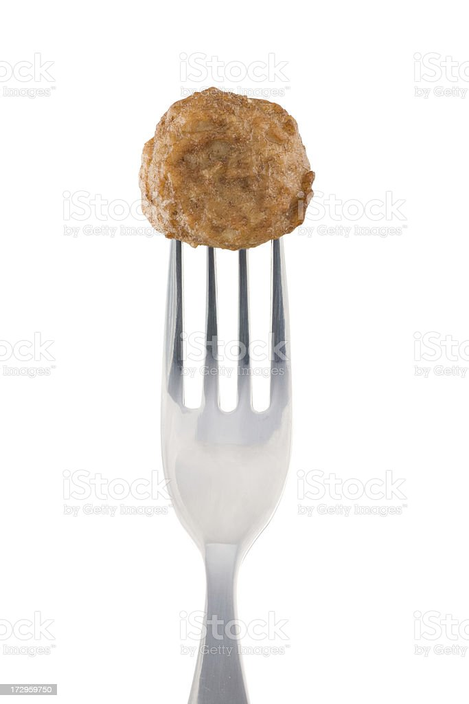 Meatball and fork royalty-free stock photo