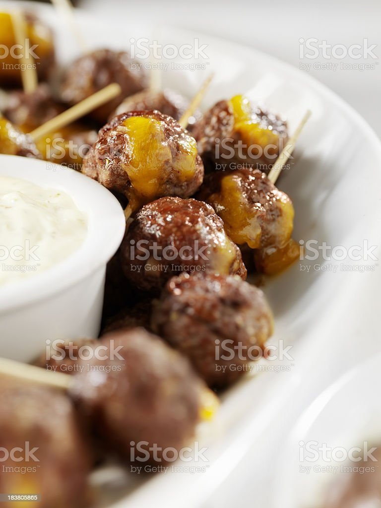 Meatball Appetizers Stuffed with Cheddar Cheese stock photo