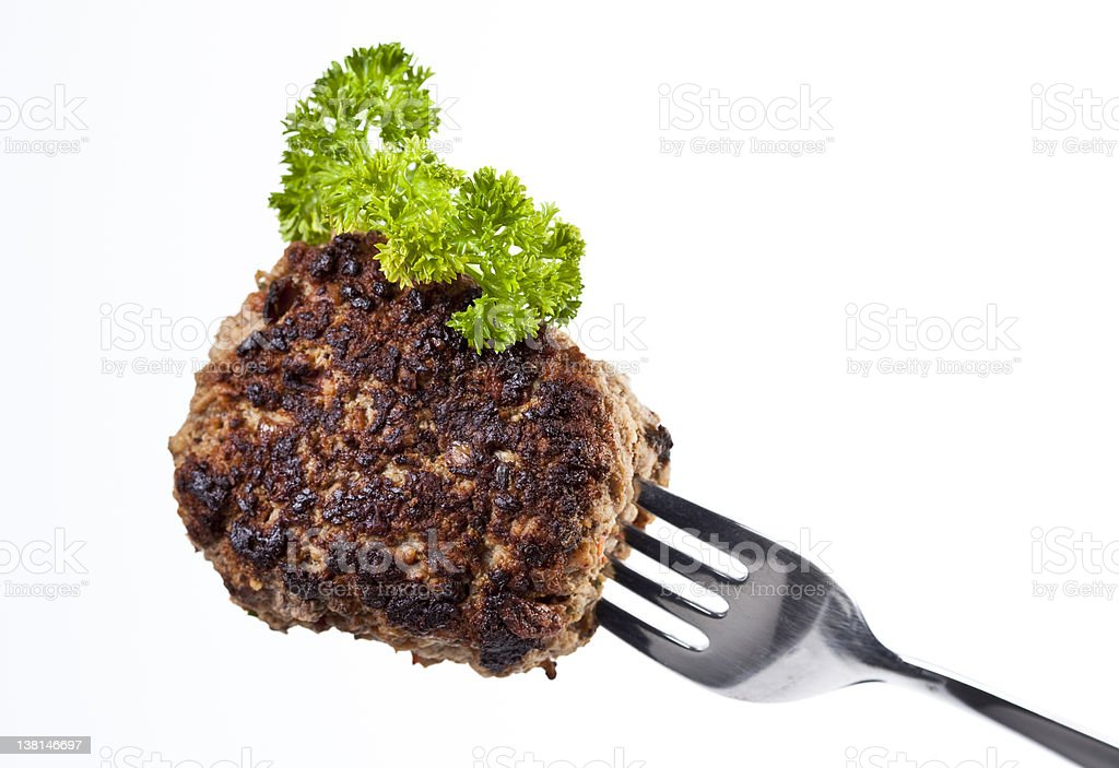 Meatball on a Fork royalty-free stock photo