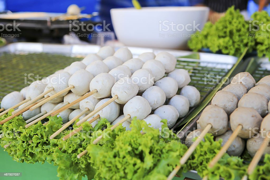 Meatball skewers placed and sold in a  markets royalty-free stock photo