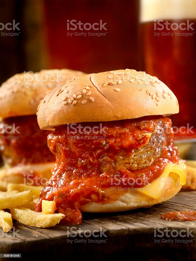 Meatball Sliders with Fries and Beers stock photo
