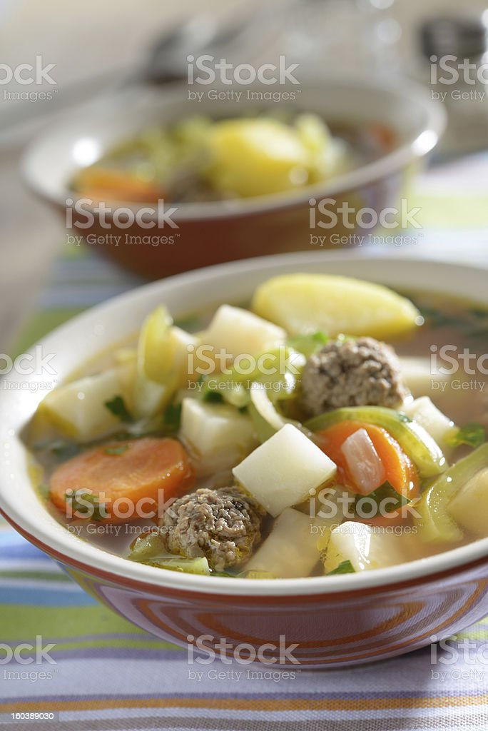 Meatball soup royalty-free stock photo