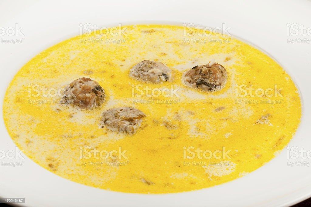 Meatball soup with borsch stock photo