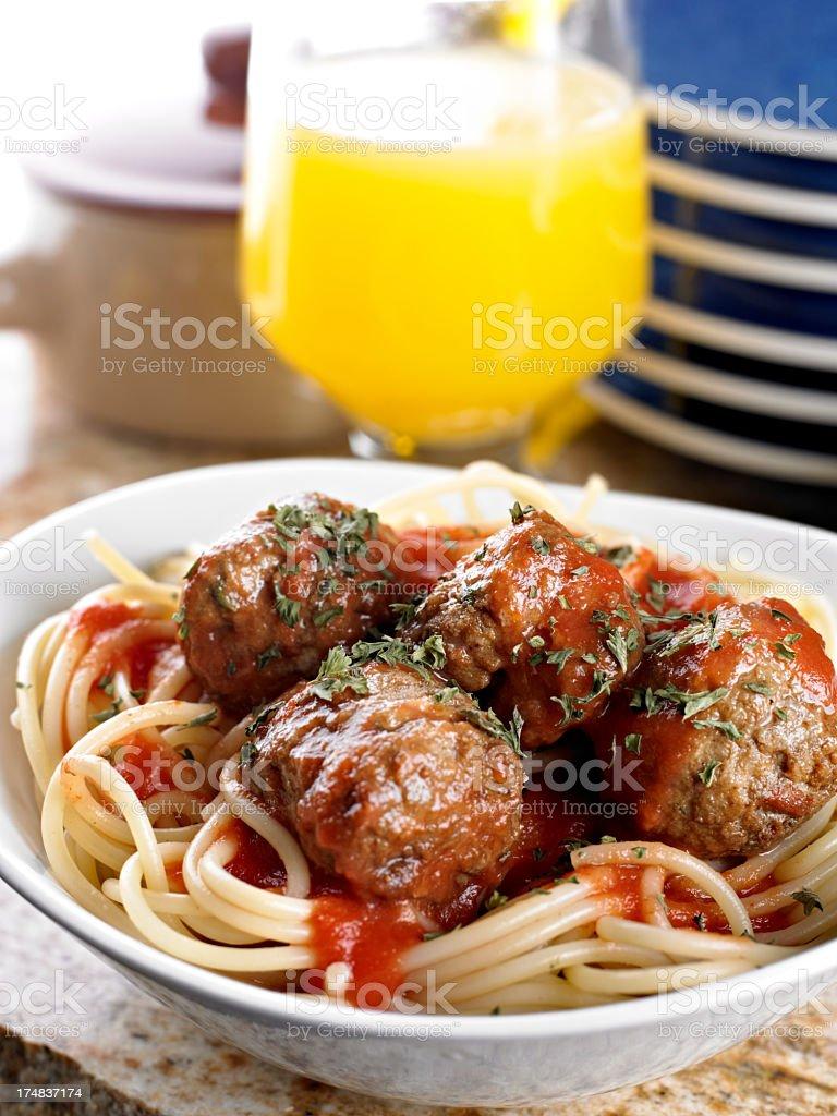 Meatball Spaghetti royalty-free stock photo