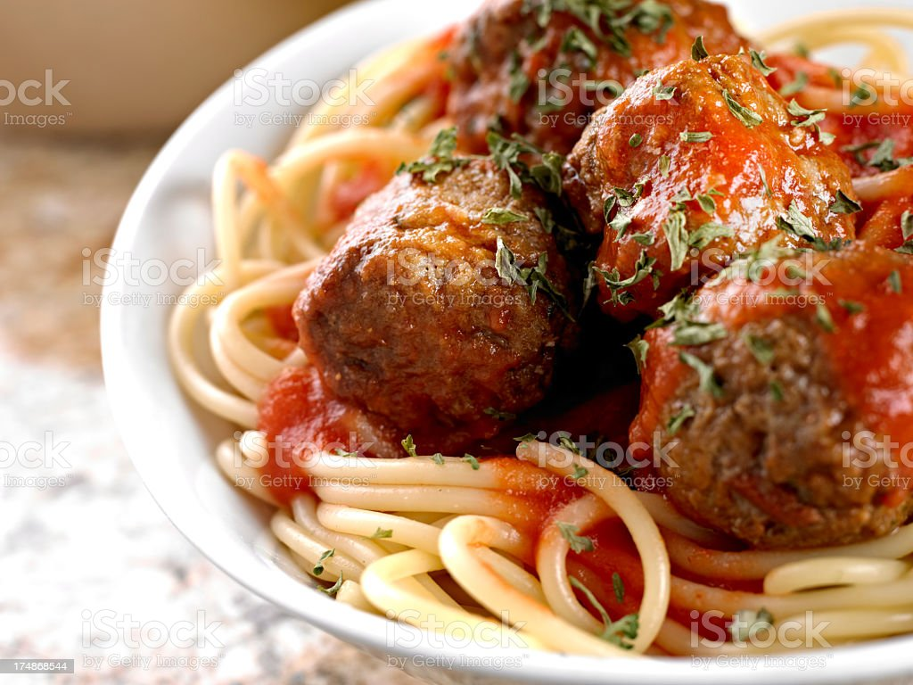 Meatball Spaghetti stock photo