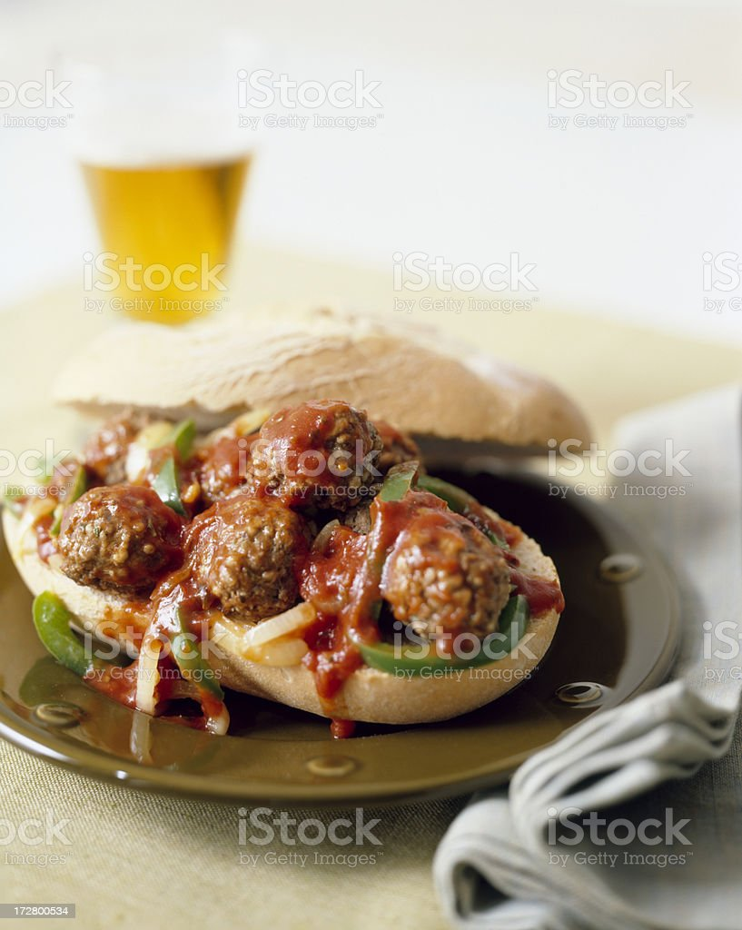 Meatball sub and beer royalty-free stock photo