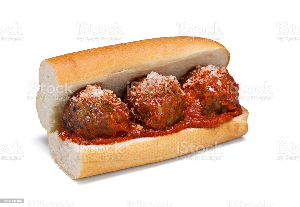 Meatball Sub with cheese and marinara sauce stock photo