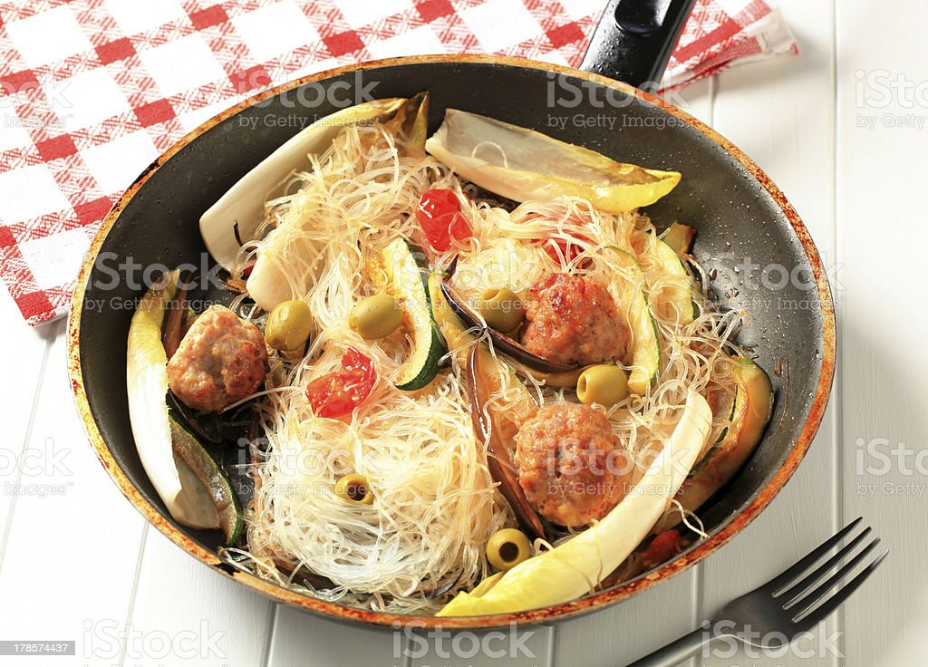 Meatballs and noodles royalty-free stock photo