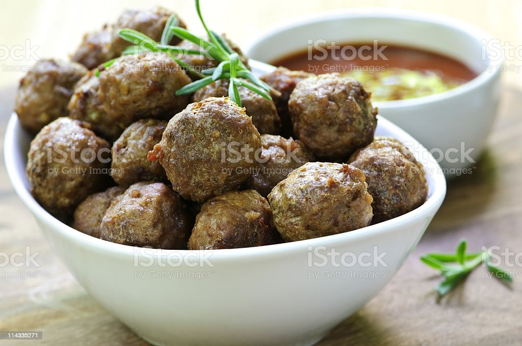 Meatballs and sauce royalty-free stock photo