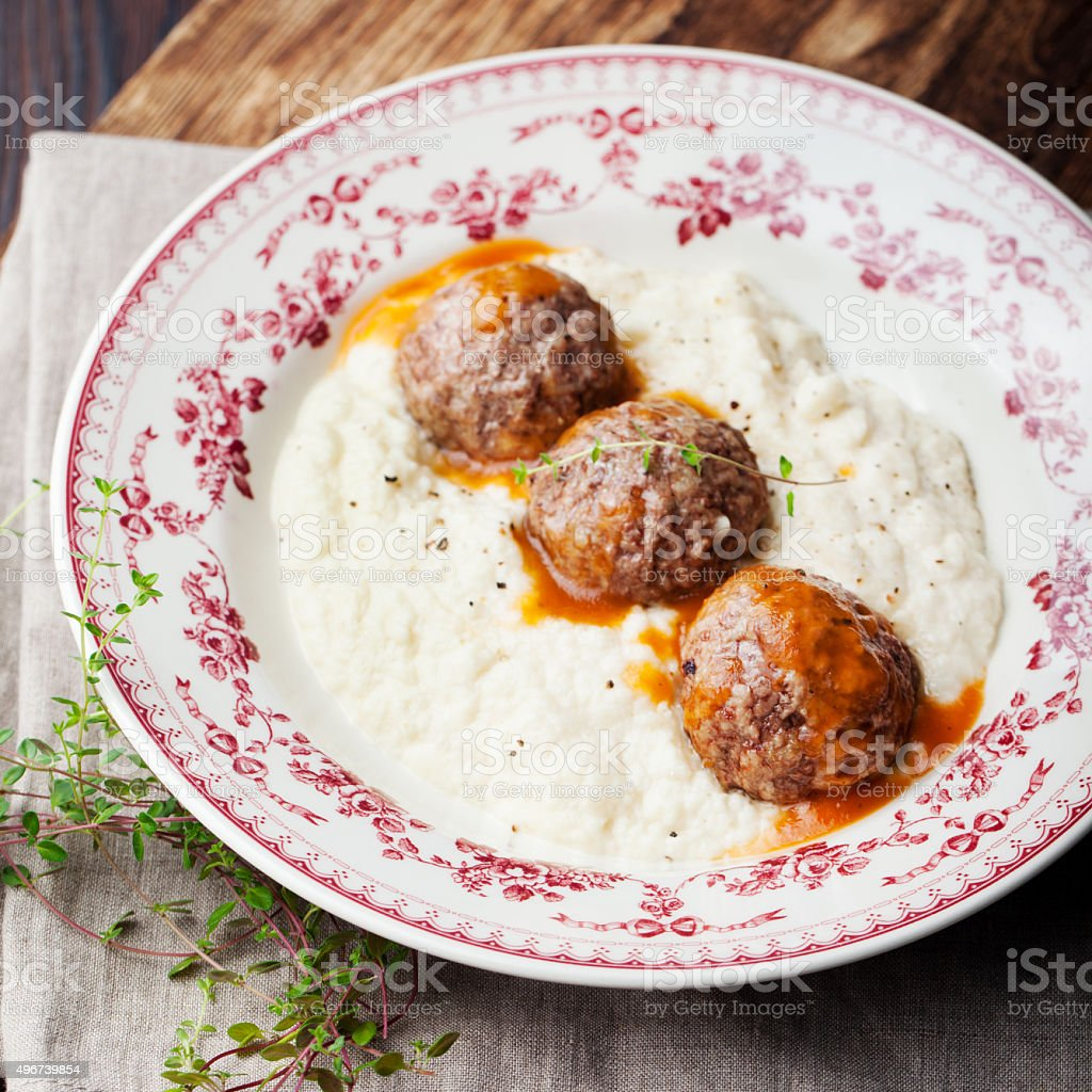 Meatballs, duck meat, with apple sauce and mashed celery, potato stock photo