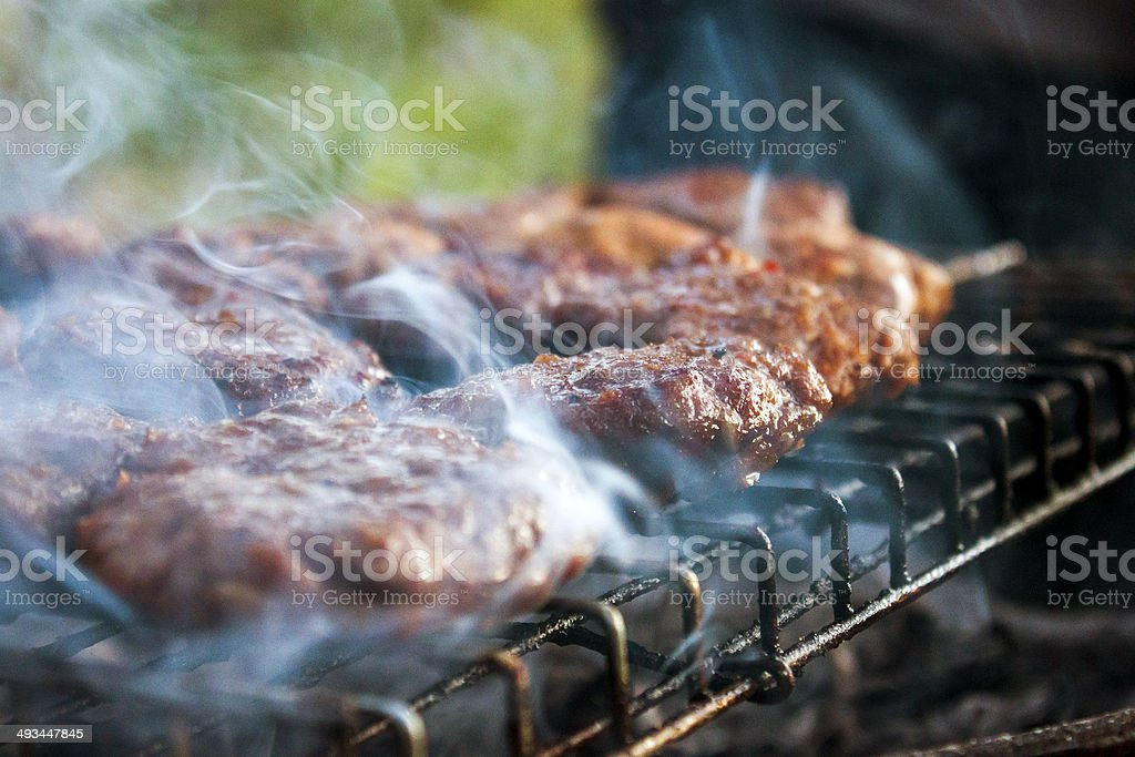 Meatballs in fire royalty-free stock photo