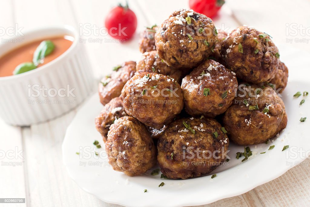 Meatballs in plate stock photo