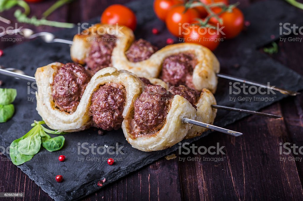 meatballs in the dough stock photo