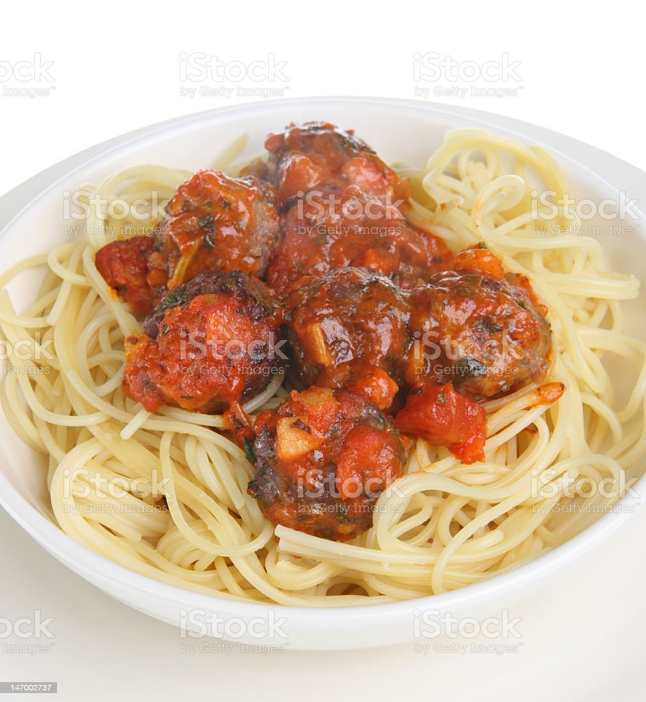 Meatballs in Tomato Sauce with Spaghetti royalty-free stock photo