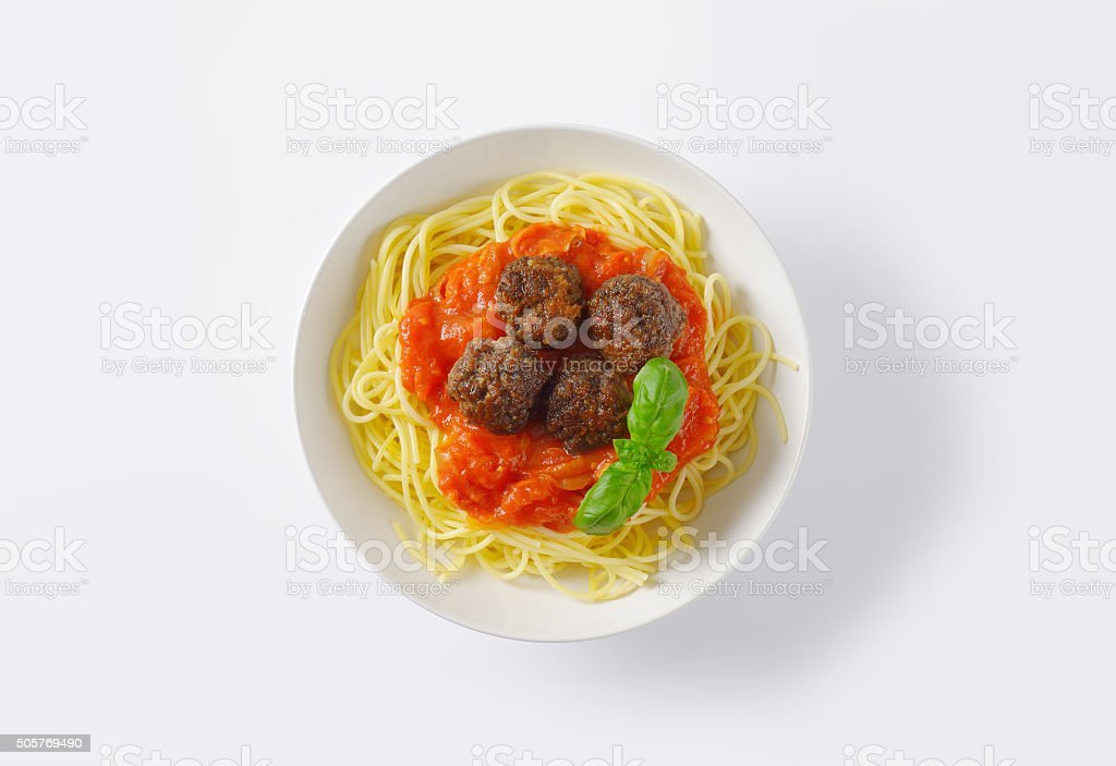 Meatballs in tomato sauce with spaghetti stock photo