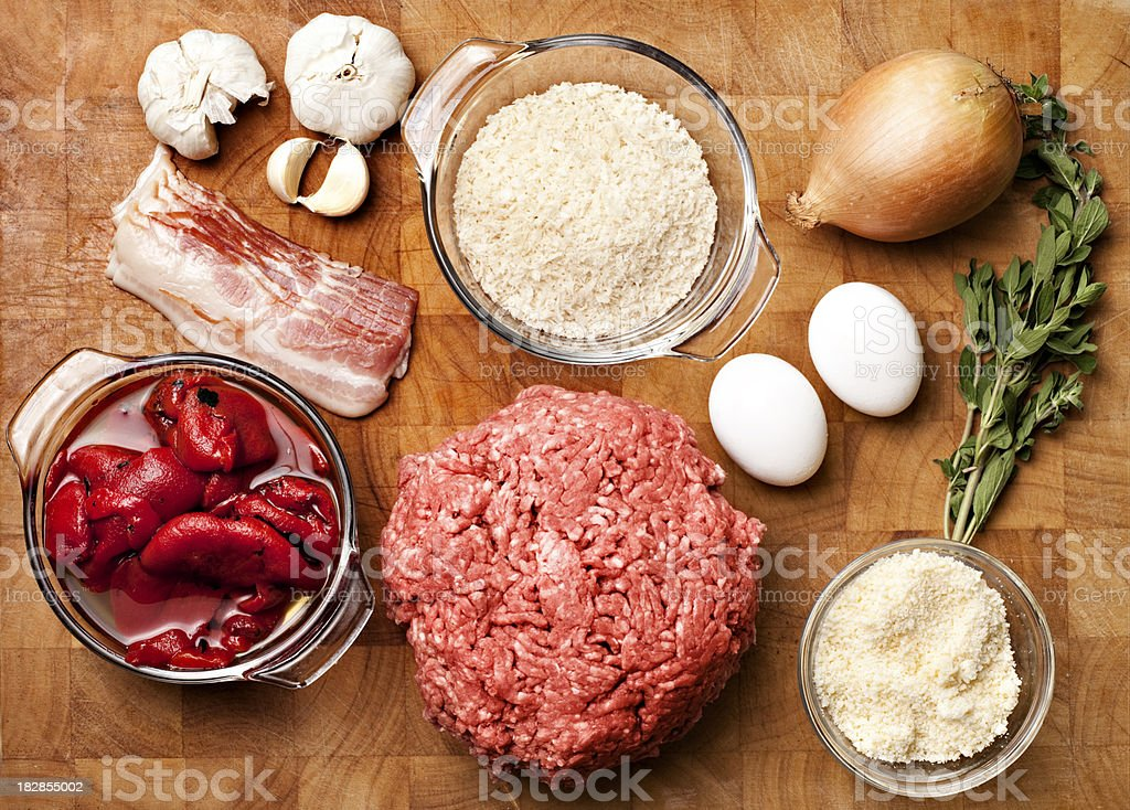 Meatballs ingredients from above royalty-free stock photo