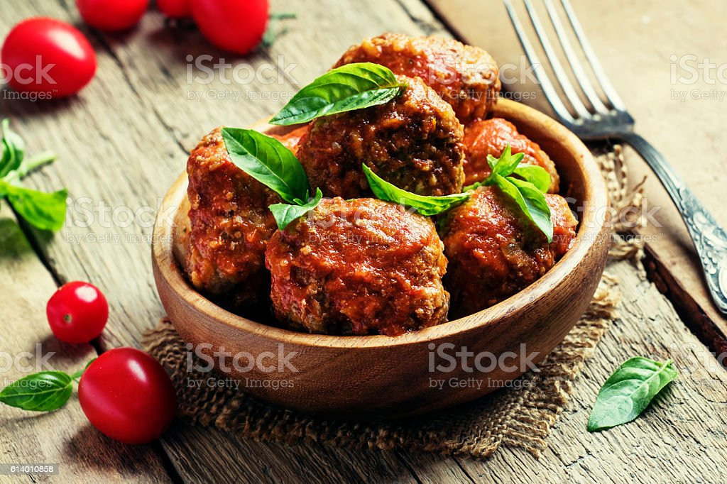 Meatballs of pork and beef stock photo