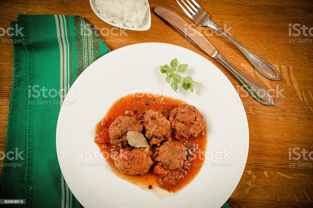 Meatballs on a plate stock photo