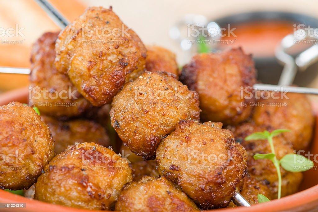 BBQ Meatballs stock photo