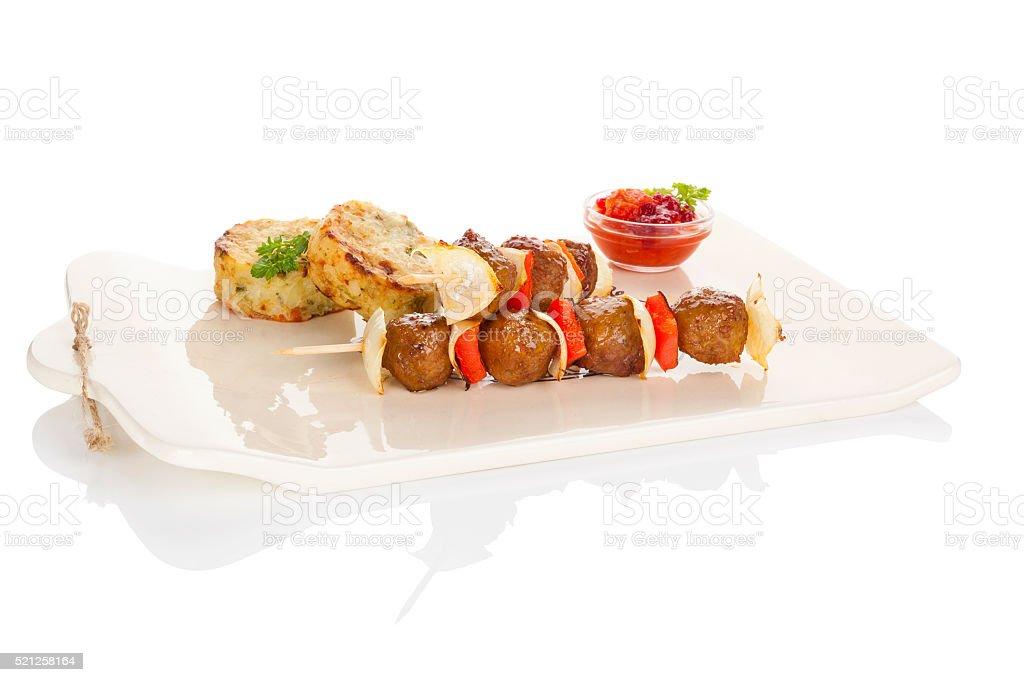 Meatballs skewer. stock photo