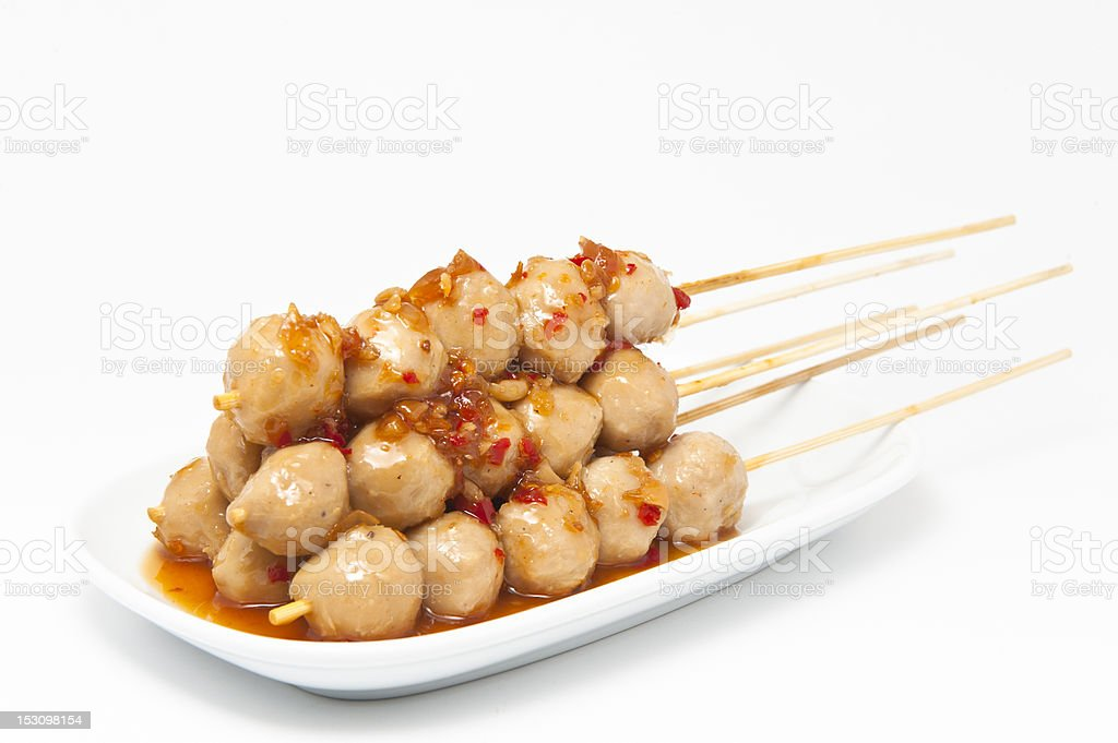 Meatballs slope sauce on a white background. stock photo