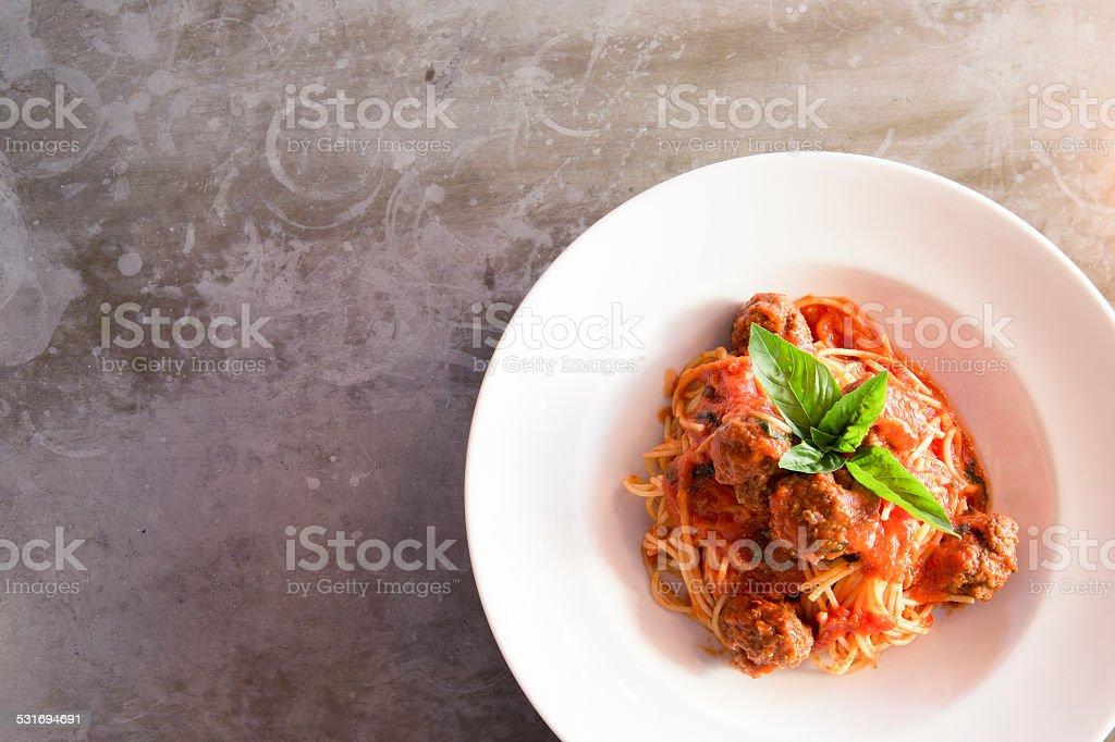 Meatballs spaghetti stock photo