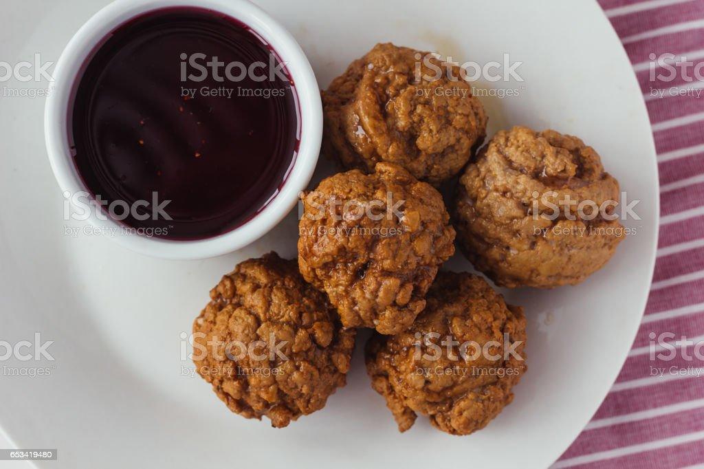 Meatballs with cherry sauce stock photo