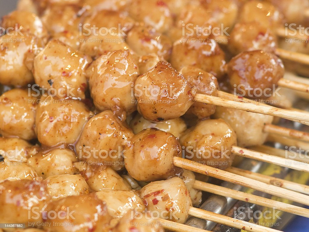 Meatballs with chili sauce royalty-free stock photo