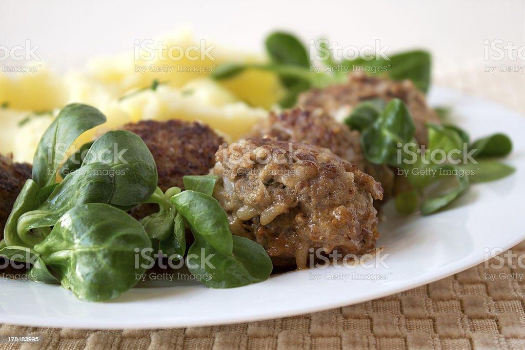 Meatballs with mashed potatos royalty-free stock photo