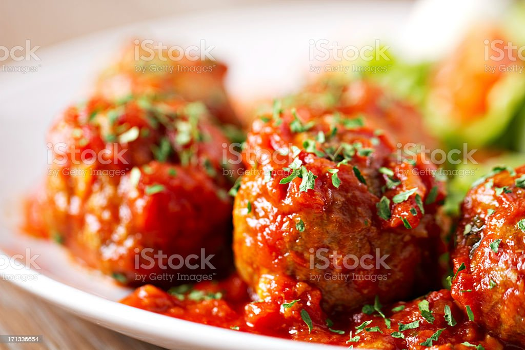 Meatballs with salad stock photo