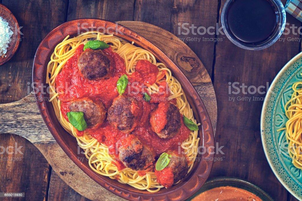 Meatballs with Spaghetti and Tomato Sauce stock photo