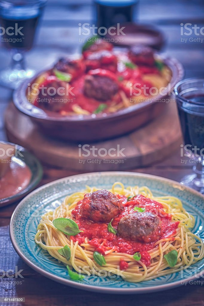 Meatballs with Spaghetti and Tomato Sauce stock photo