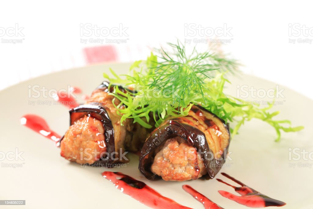 Meatballs wrapped in eggplant royalty-free stock photo