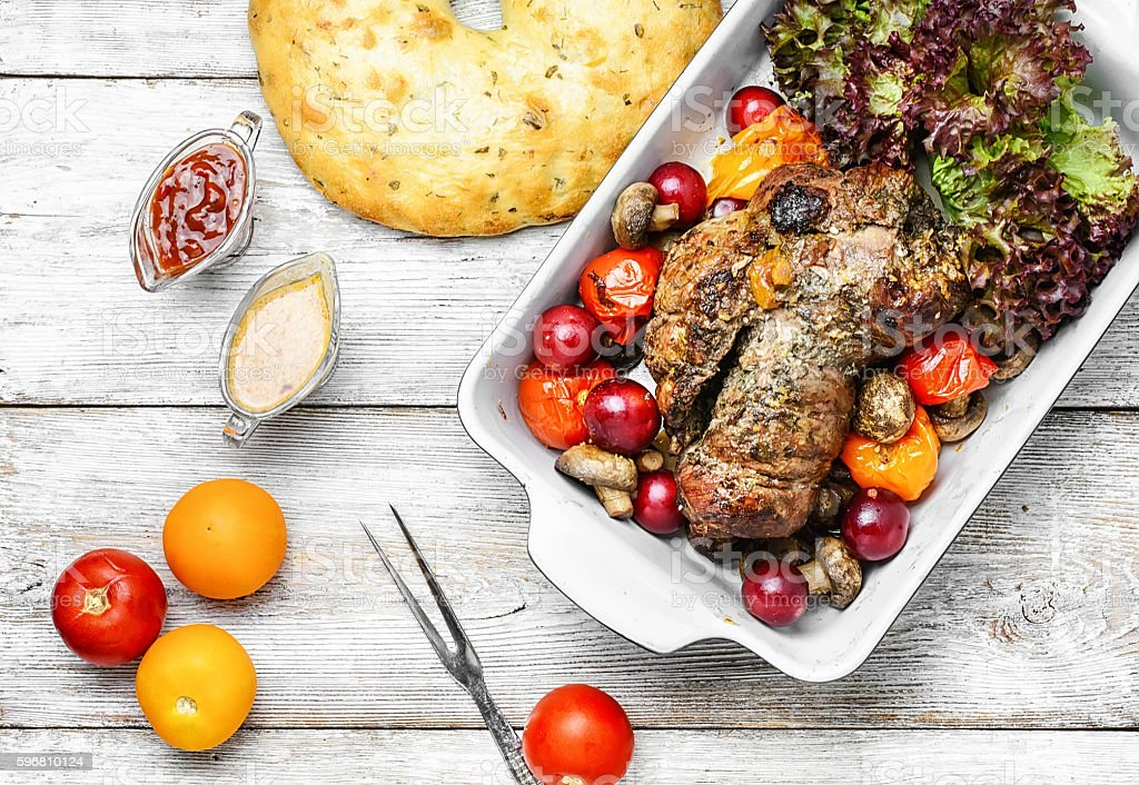 Meatloaf in vegetables and fruits stock photo