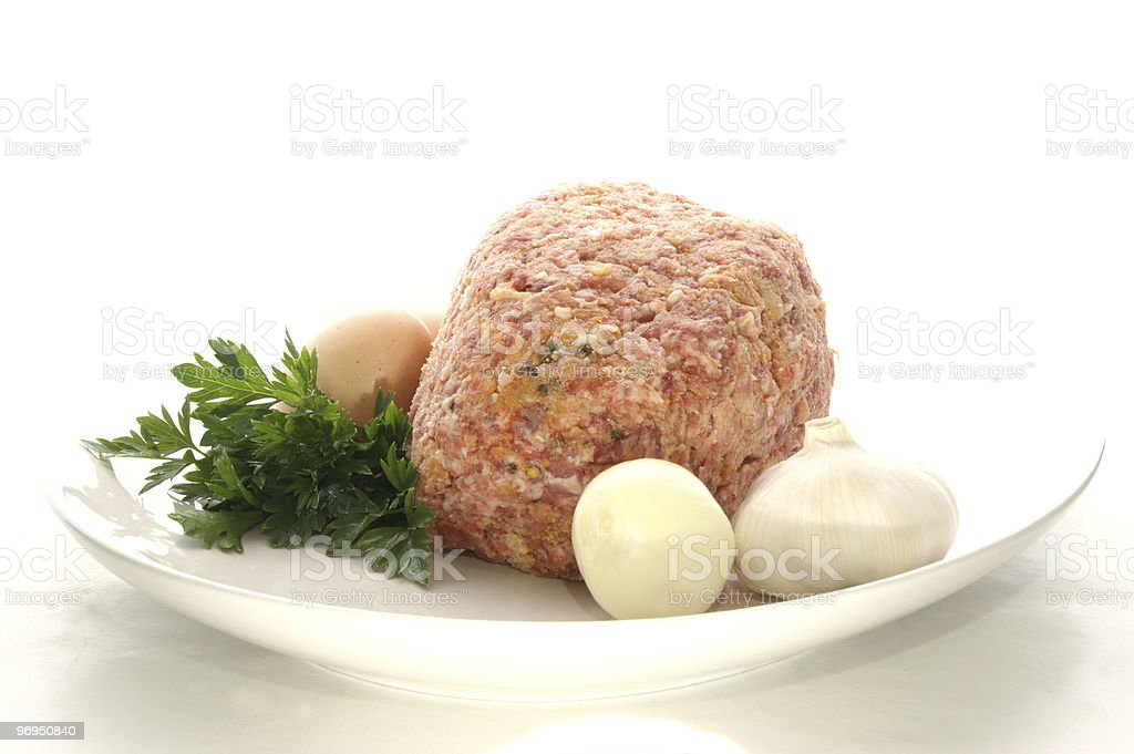 meatloaf on a white plate stock photo
