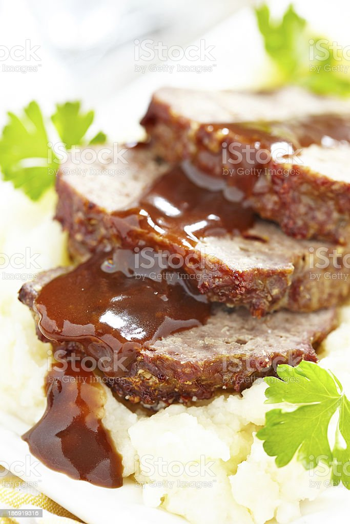 Meatloaf with brown sauce royalty-free stock photo