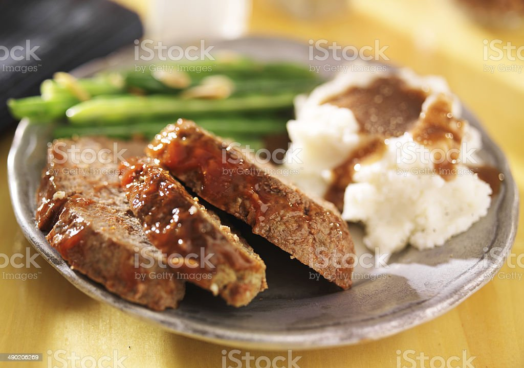 meatloaf with greenbeans and mashed potatoes royalty-free stock photo